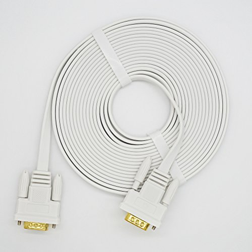 DTECH 50 Feet VGA Cable Male to Male Slim Flexible Wire for Computer Monitor Projector (White) by DTECH (Image #6)