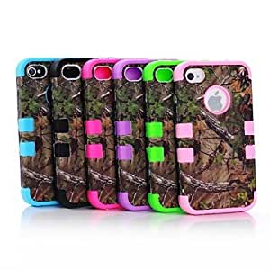 GHK - 3 Layer Rugged Hybrid Real Tree Forest Camo Case Cover Full Body for iPhone 4/4S , Blue