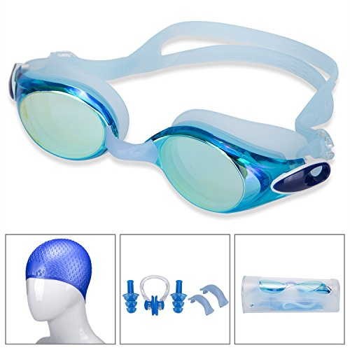 Swim Goggles with Swim Cap Ear Plugs and Nose Clip,Swou Swimming Goggles...