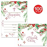 Baby Baptism Invitations & Matching Thank You Cards ( 100 of Each ) Set with Envelopes, Seasonal Winter Christmas Infant Christening, 5 x 7'' Write-in Invites & Thank You Notes, Best Value Combination