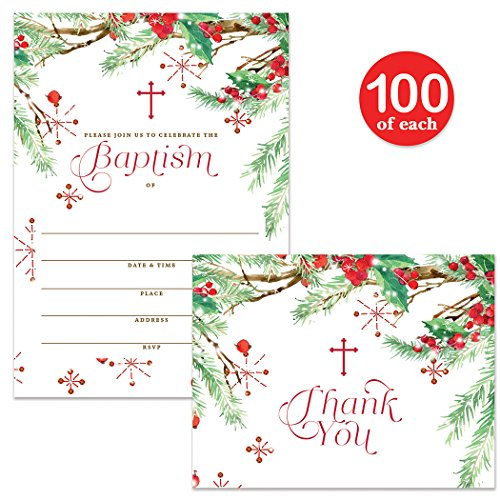 Baby Baptism Invitations & Matching Thank You Cards ( 100 of Each ) Set with Envelopes, Seasonal Winter Christmas Infant Christening, 5 x 7'' Write-in Invites & Thank You Notes, Best Value Combination by Digibuddha