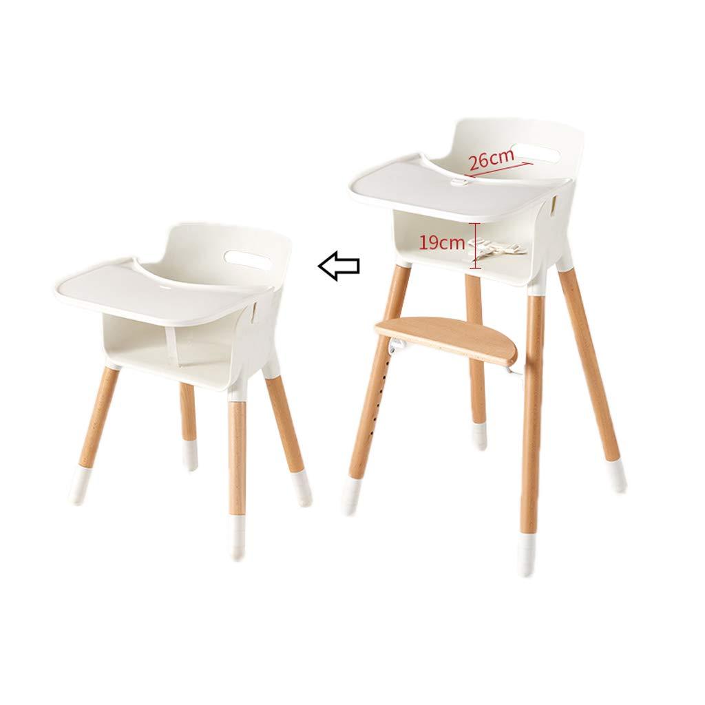 木製子供用ダイニングチェア、多機能ベビーハイチェア二重層調節可能なコンパクト給餌椅子ー装飾ダイニングテーブルチェアシートベルト0-12歳、ホーム用、リビングルーム   B07PQ1CC82