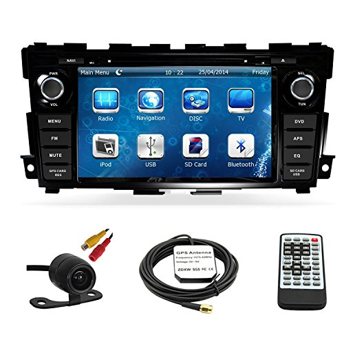 Car GPS Navigation System for Nissan Altima Sedan 2013 2014 2015 Double Din Car Stereo DVD Player 8 Inch Touch Screen TFT LCD Monitor In-dash DVD Video Receiver with Built-In Bluetooth TV Radio, Support Factory Steering Wheel Control, RDS SD/USB iPod AV BT AUX IN+ Free Backup Camera + Free GPS Map of USA