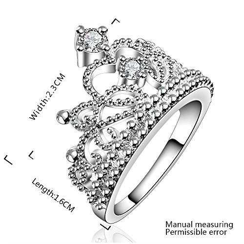 Fashion Beautiful Jewelry New 925 Silver Crystal Princess Crown Fine Ring(Q)