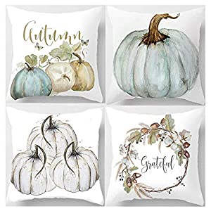 Lankey Happy Fall Yall Pumpkin Thanksgiving Decoration Cotton Blend Cushion Cover Set of 4,18×18