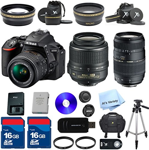 Nikon D5500 DX-format Digital SLR with 18-55mm f3.5-5.6 AF-S VR Lens (Black) ALS VARIETY Premium Bundle  Tamron 70-300mm Lens  2 High Speed 16GB Memory Cards  Deluxe Case  XIT Wide Angle  XIT Telephoto  High Speed Memory Card Reader  50 Tripo...
