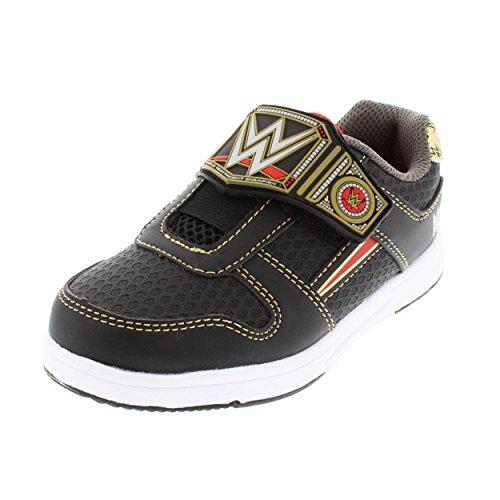 WWE Boys Championship Belt Black/Gold Athletic Shoe (10) by World Wrestling Entertainment