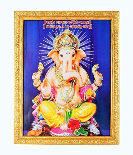 Silver Zari Work Photo of Ganesh-Ji in Golden Frame Big (14 X 18 Inches) Religious Wall Decor (Best Photos Of Ganesh Ji)