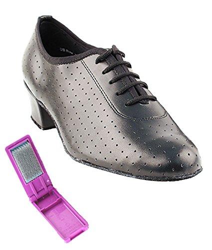 Veldig Fine Ballroom Latin Tango Salsa Dans Sko For Kvinner 2001 1,5 Hæl + Sammenleggbar Skoen Pensel Bunt Sort Skinn