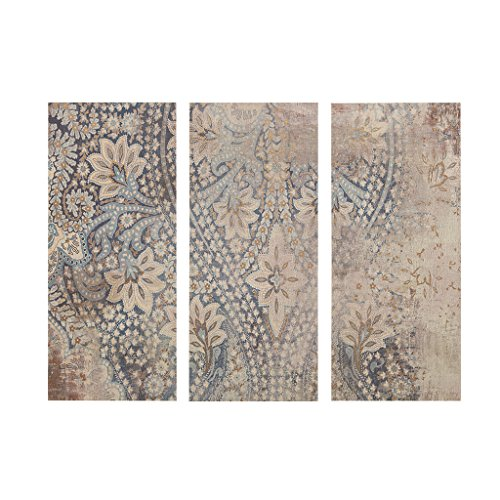 Madison Park Weathered Damask Walls Blue Canvas Wall Art 15X35, Abstract Global Inspired Wall Décor (Damask Hanging Wall)