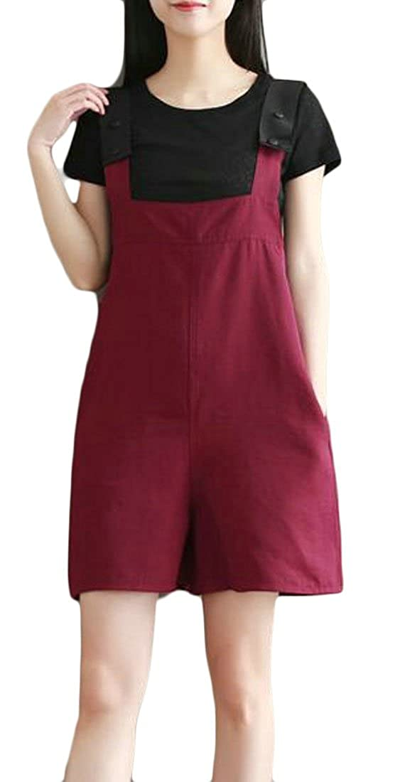 Lutratocro Womens Stylish High Rise Shorts Romper Wide Leg Pure Color Slim Fit Overalls
