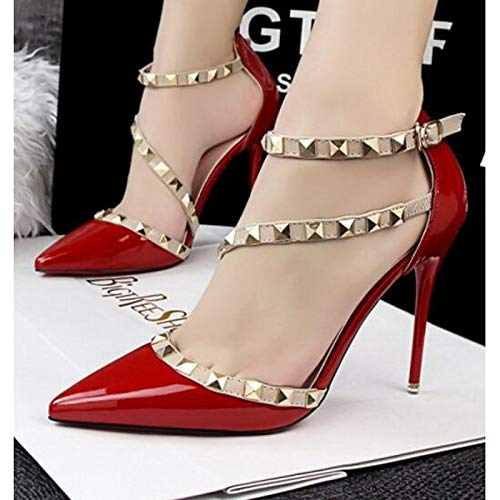 Black Heels Polyurethane amp; Red Summer Pump Women's Stiletto White Basic PU Heel ZHZNVX Shoes Spring Red Comfort wxvSfq6nC