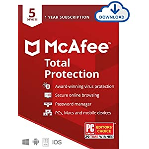 McAfee Total Protection, 5 Device, Antivirus Software, Internet Security, 1 Year Subscription- [Download Code] – 2020 Ready
