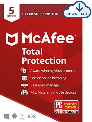 McAfee Total Protection, 5 Device, Antivirus Software, Internet Security, 1 Year Subscription- [Download Code] - 2020 Ready (Best Antivirus Program For Windows 8)