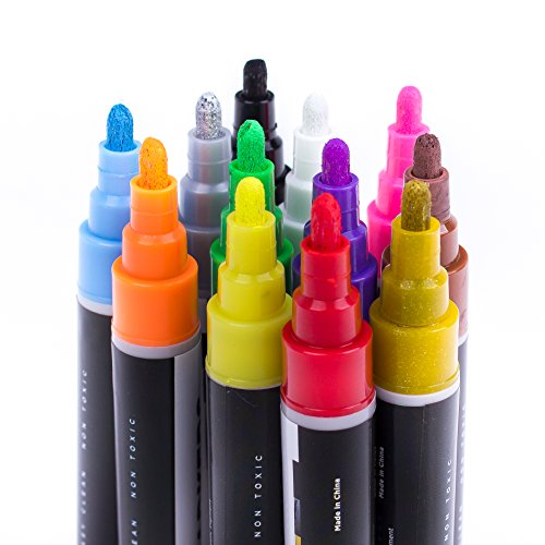 Arts Chalk Markers for Kids and Artists, Nine Cheers Extra SILVER and GOLD Ink Pen- 12 Bright Liquid Odorless Chalk Pens, Liquid chalk marker fine tip, reversible Bullet and Chisel Fine Tip, Non Toxic