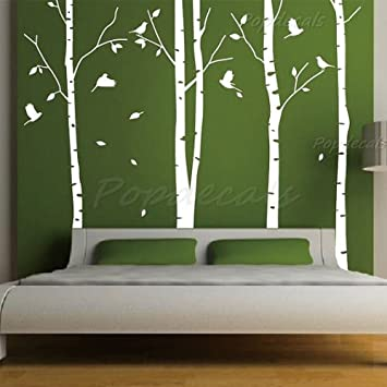 Custom color popdecals set of 4 big birch trees 8 feet 6 in