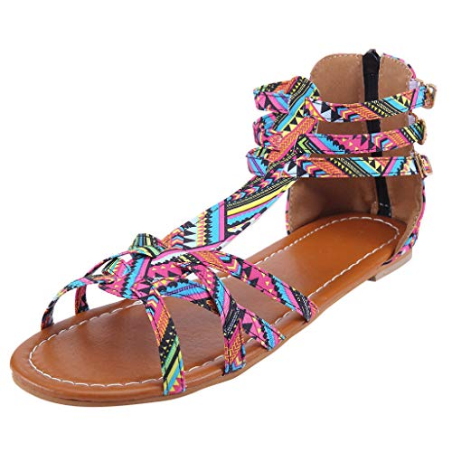 Orangeskycn Summer Boho Women Sandals Bohemian National Sandals Large Size Retro Roman Peep Toe Hollow Contrast Sandals Red
