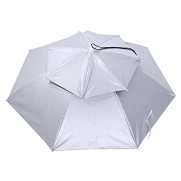 ad93bf1925d1c Amazon.com  Foldable Head Umbrella Hat Anti-Rain Fishing Sun Shade Parasol  Cap Fishing Headwear Umbrella(Silver)