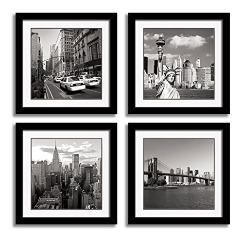 Giclee New York City Skyline Canvas Print Wall Art Decor 3 Piece Black And White Landmark Architecture Paintings Golden Gate Bridge Statue Of Liberty Building Picture ()