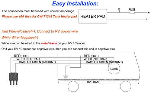 "12/"" x 18/"" Water Holding Tank Heater Pad with Automatic Thermostat Control for RV"