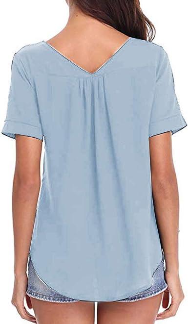 wyxhkj Camisetas Mujeres Manga Corta Verano, Camisa Manga Corta Abotonada De Gasa Color Sólido V-Cuello Suelta Casual Top Blusa: Amazon.es: Ropa y accesorios