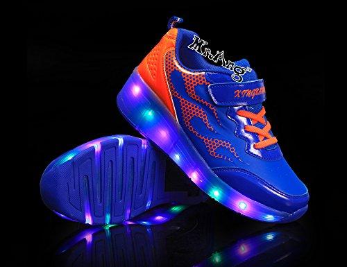 Mr.Ang con Luces LED Coloridos Parpadeante Neutra ruedas de Patines de Rueda Patín Zapatos Zapatos del Patín Zapatos Deportivos Niños y Niñas de Calzado Deportivo Zapatos de Skate K06 Azul Naranja
