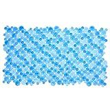 SlipX Solutions Blue Burst of Bubbles Bath Mat Provides Reliable Slip-Resistance (17' x 30', Stylish Bubble Design, Machine Washable)
