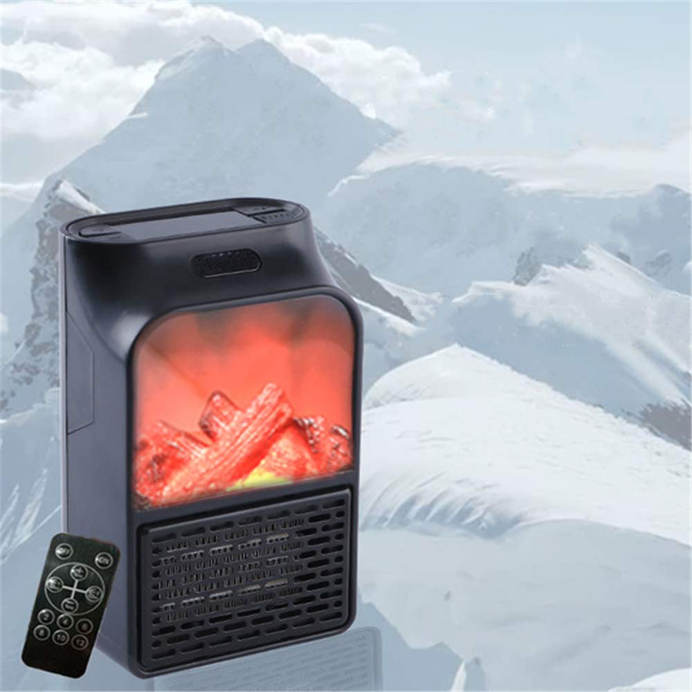 ANGELA Simulation Fireplace Heater, Mini Flame Electric Remote Control Fireplace, Remote Control, Dual Use Air Circulator Fan, for Home, Office, Desk Use