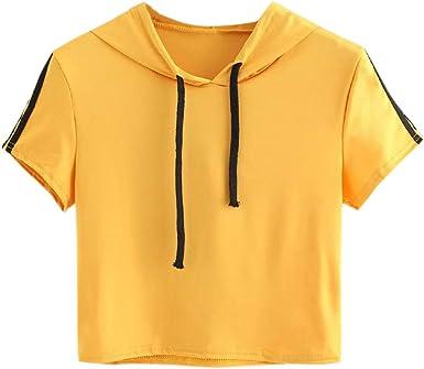 Qingsiy Camisetas Mujer Blusa Suelta De Mujer Manga Corta Camiseta con Capucha Tops Casuales Camisa Escote del O-Cuello Top De La Moda Mujer Deporte De Camiseta Tops Mujer Verano: Amazon.es: Ropa y