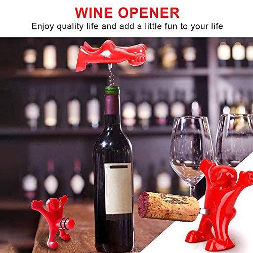 Faraone4w 3 in 1 Wine Opener Set, Happy Man Bottle Opener, Wine Bottle Stoppers Wine Bottle Corkscrew Beverage Bottle Stopper Corkscrew, Novelty Set - Gift Set - Wine Saver