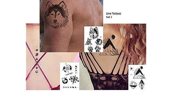gráfica de tatuajes líneas Tatuajes 3 pieza set Fake Tatuajes Wolf ...
