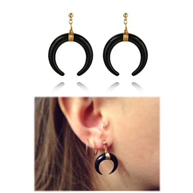 Bohemian Imitation Rhinoceros Horn Ivory Crescent Moontail Drop Earrings  for Women Girls Christmas Gifts