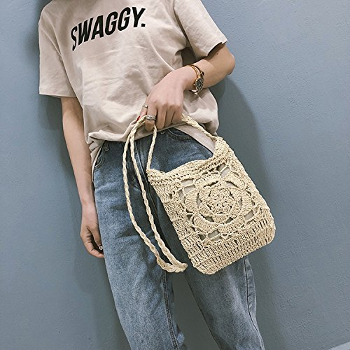 female braided wind national simple bag fashion 2018 Messenger shoulder straw White summer bag InwFRFq0