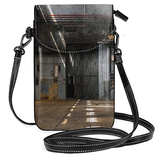 Women Small Cell Phone Purse Crossbody,Dark Industrial Interior Of An Old Building Place Of Manufacturing Hangar ()