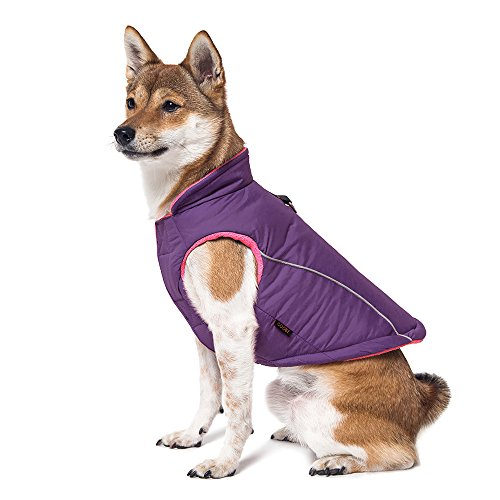 (Gooby - Sports Vest, Fleece Lined Small Dog Cold Weather Jacket Coat Sweater with Reflective Lining, Purple, X-Large)