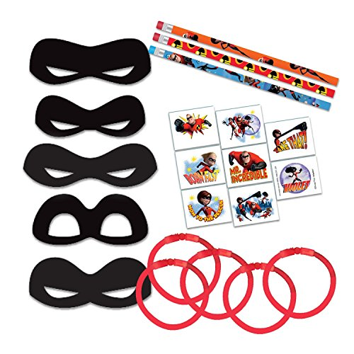 FAKKOS Design Incredibles 2 Party Favor Bundle - Movie Themed Pencils, Tattoos, Masks for 8 Guests