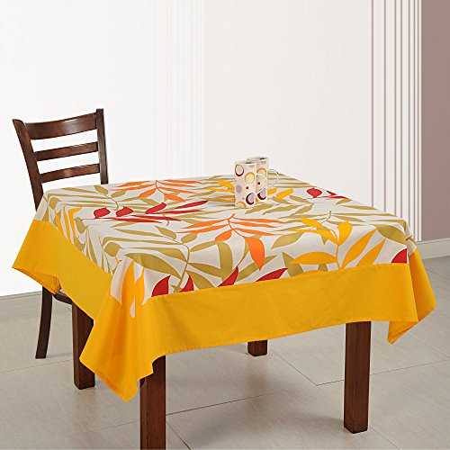 ShalinIndia Cotton Floral Print Indian Décoration 54 Inch Square Tablecloth - 4 Seater (Breakfast Cloth Table)