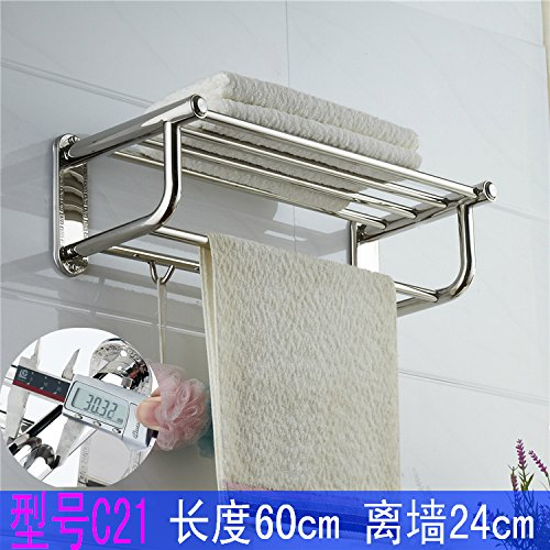 Bathroom Towel Rack Stainless Steel Bath Towel Rack Bathroom Shelf Wall Hanging With Rod,C21 Stainless Steel Bath Towel - C21 Gold