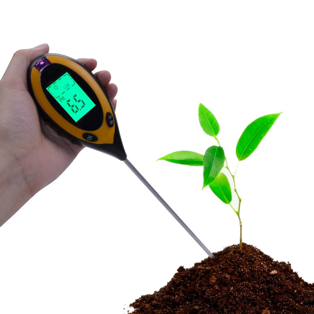Tubwair 4-in-1 Soil Test Moisture Meter PH Levels Temperature Sunlight Lux Intensity Survey Instrument for Indoor Outdoor Garden Farm Lawn Plant Grain Flower Grass Care