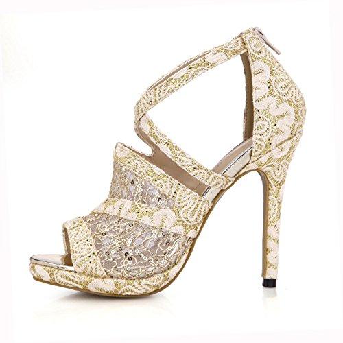 altos 4U® Zapatos la de 12CM de de de Sandalias de la de encaje la cremallera mujeres básicas Bombas de Best goma las respirable neto talones los E la suela sólido primavera Oro de Color primavera qCTUdFBw