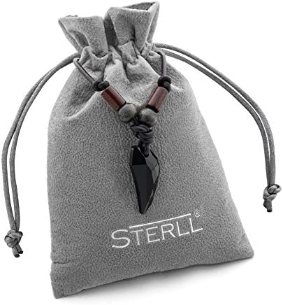 STERLL man Surfer Necklace Leather Black Swarovski Elements Jewelry Pouch Men's Gifts