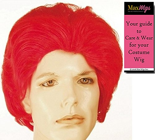 Ronald McDonald Red - Lacey Wigs Men's Synthetic Red Wavy Full Clown Commercial McRonald Bundle with MaxWigs Costume Wig Care Guide -