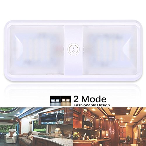 AutoEC RV Ceiling Dome Light, 2 Color Mode 12V RV led Lights Interior Lighting Replacement Fixture for Car/RV/Trailer/Camper/Boat (Warm White 3000-3500K and Pure White 6000-6500K)