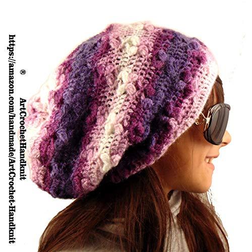 2d52eadf099 Amazon.com  Purple Slouchy beanie hat women teen