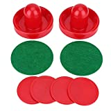 Plastic Lightweight Air Hockey Accessory Pushers Pucks Set Replacement for Tables Game (2 Pushers, 4 Puck Pack, L/M/S, Red)(76mm)