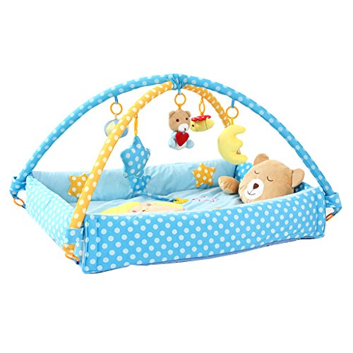 Dovewill Bear Musical Sensory Activity Mat With Sides, Music And Toys For Baby - Blue, 12 Months by Dovewill
