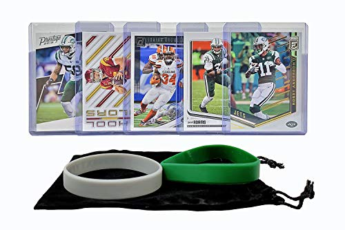 New York Jets Cards: Sam Darnold, Isaiah Crowell, Robby Anderson, Darron Lee, Jamal Adams ASSORTED Football Trading Card and Wristbands Bundle ()