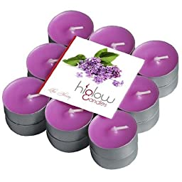 Scented Tea Light Candles - 18 Pack Lilac Blossom Soft Scent - Purple Tealights Set - Nice Gift