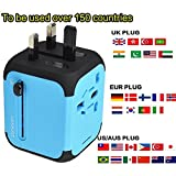 International Travel Power Adapter with 2.4A Dual USB Charger, Universal AC Socket, Wall Outlet Plugs for European, UK, US, AU & Asia - Built-in Spare Fuse - Blue