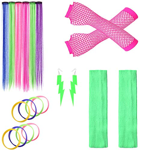 JustinCostume Women's 80s Outfit Accessories Neon Earrings Leg Warmers Gloves (J)]()